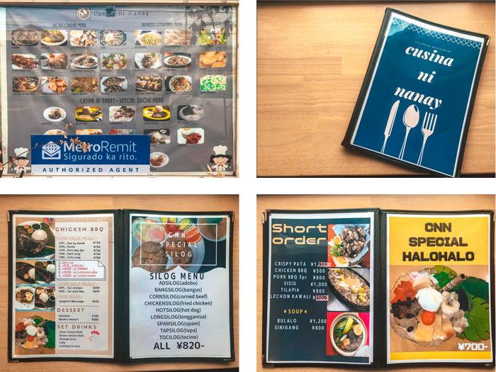 Cusina ni Nanay Kariya City restaurant menu