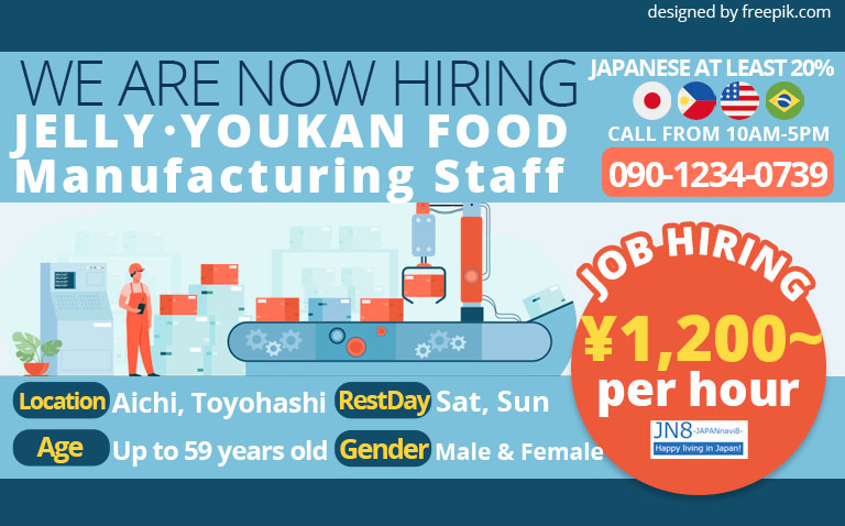 Jelly, Youkan Food Manufacturing Staff Aichi, Toyohashi City JN8 Jobs