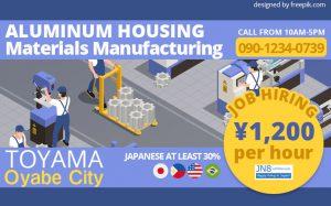 Aluminum Housing Materials Manufacturing Staff Toyama Oyabe City