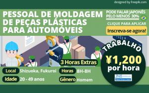 Equipe de moldagem de peças plásticas para automóveis Shizuoka Cidade de Fukuroi JN8 Brasileiro Brasil 2