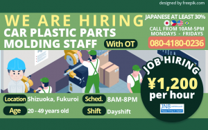 Car Plastic Parts Molding Staff Shizuoka, Fukuroi Jobs JN8 English 3